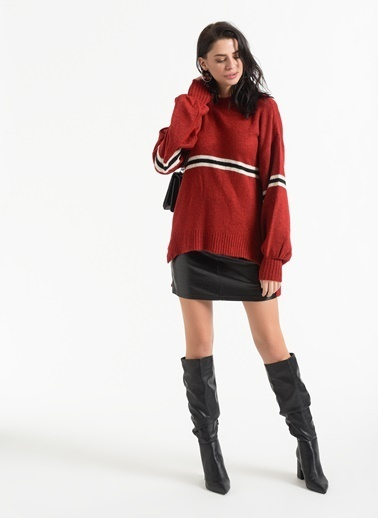 Styletag Geniş Kollu Kazak Kırmızı